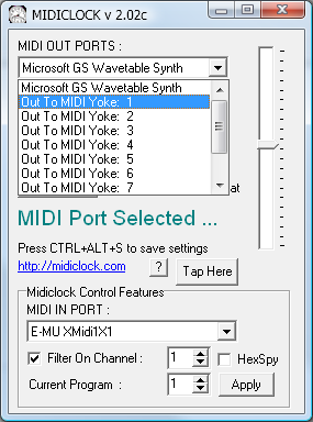 screenshot midiyoke selection in midiclock