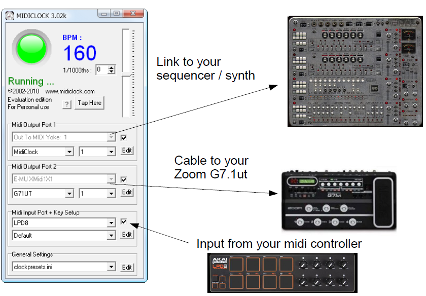 Midi clock BPM control of Zoom G7.1ut