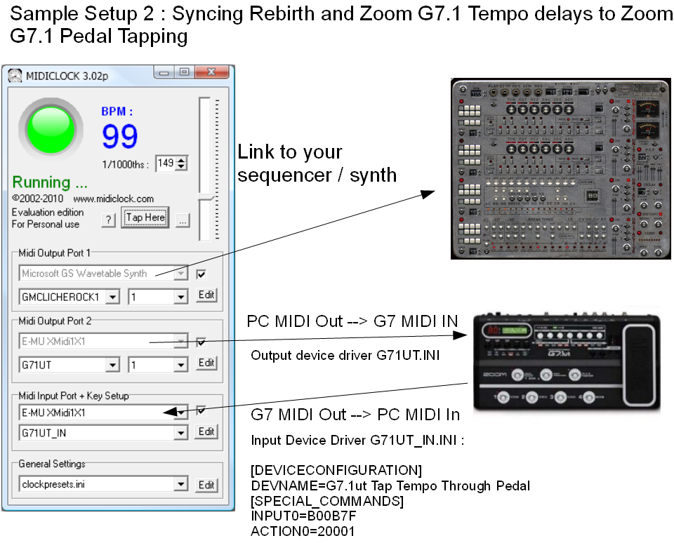 Sample Setup 2 : G7.1ut and Rebirth -- Pedal BPM Control